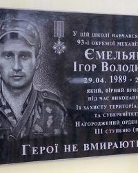 Мемориальная доска старшему солдату Емельяненко И.В (1989-2014)