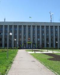 Аннотационные доски на здании Пролетарского исполкома в Донецке