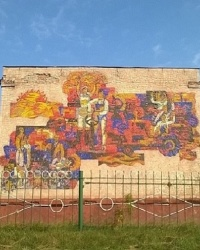 Мозаичное панно на здании профессионального аграрного лицея в п.г.т.Сосница