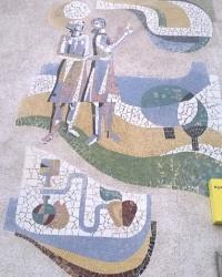 Мозаичное панно на здании завода продтоваров в п.г.т.Воловец