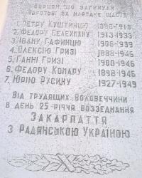Мемориальная доска борцам,которые погибли в борьбе за народное счастье в п.г.т. Воловец