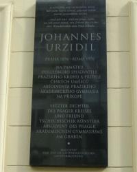 м. Прага. Меморіальна дошка Йоханнесу Урзіділу.