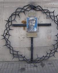 м. Лівів. Пам'ятний знак на місці загибелі композитора Ігоря Білозіра
