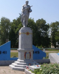 с. Вільшана. Братська могила та пам'ятний знак загиблим односельцям.