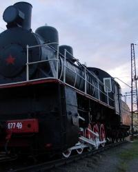 """Паровоз Эу 677-49 в харьковском депо """"Октябрь"""""""